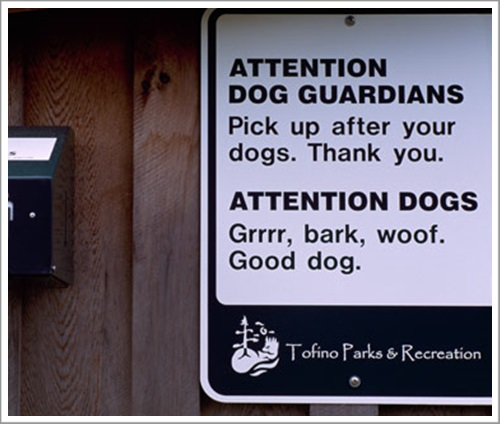 Funny Humorous / Humourous Sign advising Dog Owners to Pick Up after their Dogs with Public Supply of Eco Plastic Bags
